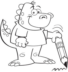 Cartoon Dinosaur Holding a Pencil vector