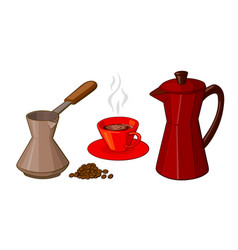 cartoon set of coffee items vector image