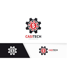Casino and gear logo combination chip and vector