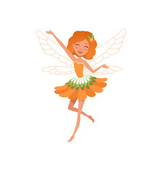 cheerful red-haired fairy with little magic wings vector image vector image