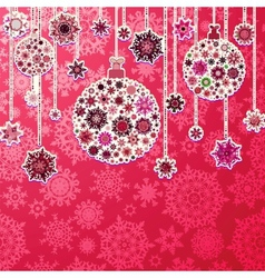 Christmas pink background with baubles EPS 10 vector image