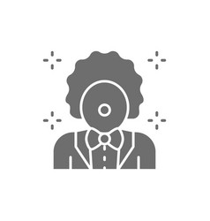 clown animator in circus grey icon vector image
