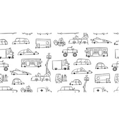 Coloring batoy cars collection seamless vector