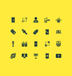 Communication icons set with online news portable vector