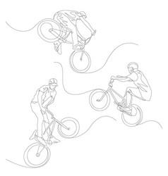 Continuous one line bmx cyclist set summer vector