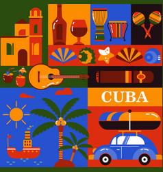 cuba tourism icons vector image