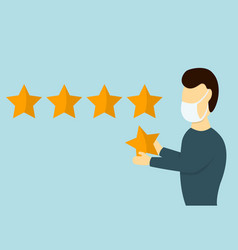 customer gives rating five stars vector image