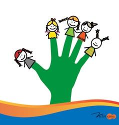 Cute happy cartoon kids on fingers vector image