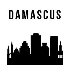 damascus city simple silhouette modern urban vector image