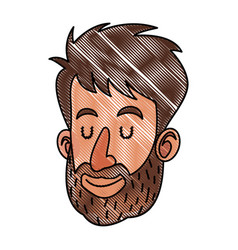 Drawing face man beard close eyes vector