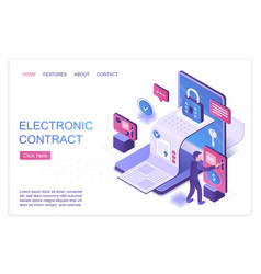 Electronic contract isometric landing page vector