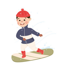 Excited boy in warm clothing snowboarding vector