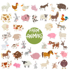 farm animal characters big set vector image