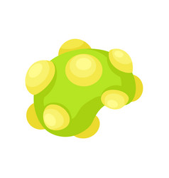 flat icon of green virus with yellow cells vector image