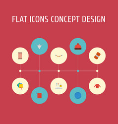 Flat icons scissors yarn wool and other vector