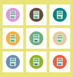 flat icons set of column chart on blank concept on vector image