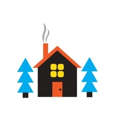 Flat web icon on white background house in forest vector