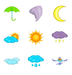 flight weather icons set cartoon style vector image