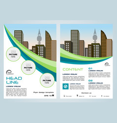 flyer corporate business with green and blue lines vector image