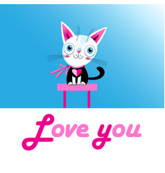 Funny love kitten with a heart vector