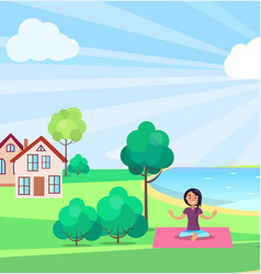 Girl doing yoga outdoors buildings on background vector