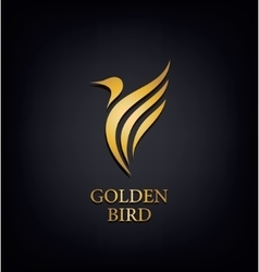 Golden Phoenix bird brand animal logoluxury vector