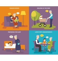 Grandparents are playing with children vector image