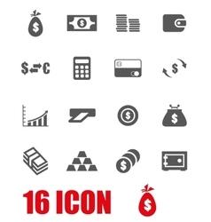 grey money icon set vector image