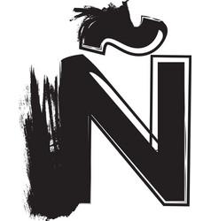 grunge font letter n vector image