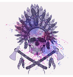 grunge human skull in native american ind vector image