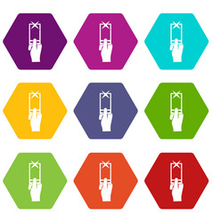 Hand photographs on smartphone icon set color vector