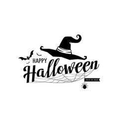happy halloween message hat and cobweb vector image