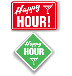Happy Hour Cocktail bar signs vector