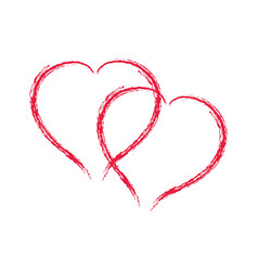 heart two red sign on white background symbol vector image