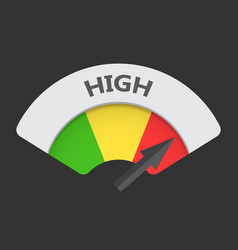 High level risk gauge icon high fuel on black vector