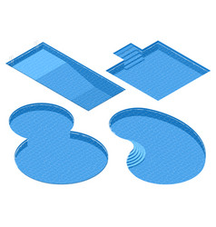 Isometric set different forms swimming pools vector