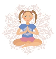 Kid yoga positions vector