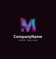 Letter m modern wave line logo design template vector