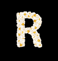 Letter r made up airy popcorn vector