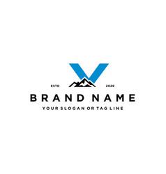 Letter v mountain logo design concept vector
