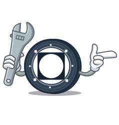 Mechanic byteball bytes coin mascot cartoon vector