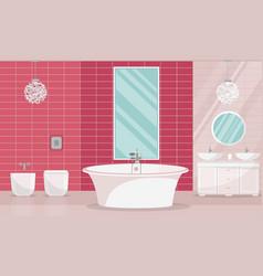 modern elegant rich bathroom interior with tub vector image