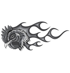Monochromatic angry rooster with flames vector