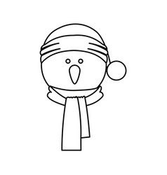 Monochrome contour of snowman face with scarf and vector