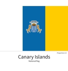 National flag of Canary Islands with correct vector