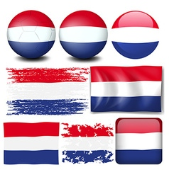Nederland flag in different design vector image
