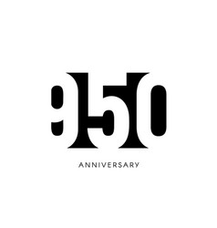 nine hundred fifty anniversary minimalistic logo vector image