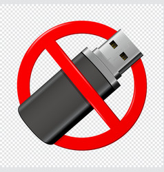 no usb flash red drive sign isolated on vector image