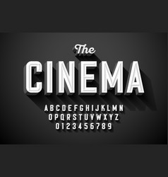 Old movie title vintage font vector