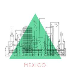 Outline mexico skyline vector